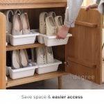 Shoe Slots Home Organization Double Storage Space Saver Footwear Shoe Rack Shoes Organizer Organiser Storage Slippers Style Degree Sg Singapore
