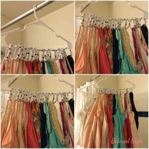 Hang tank tops on shower curtain hooks, closet organization hacks, wardrobe storage ideas, home organization hacks, cheap DIY home organization, Style Degree, Singapore, SG, StyleMag.
