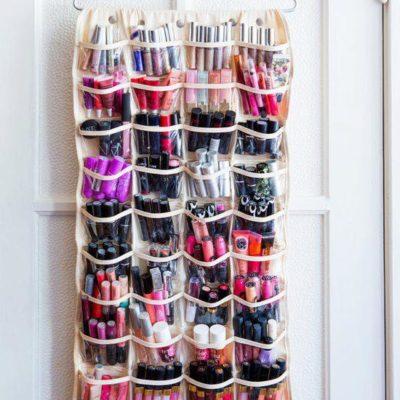 Keep makeup products in hanging organizer, makeup storage ideas, cheap storage hacks, genius home organization hacks, Style Degree, Singapore, SG, StyleMag.