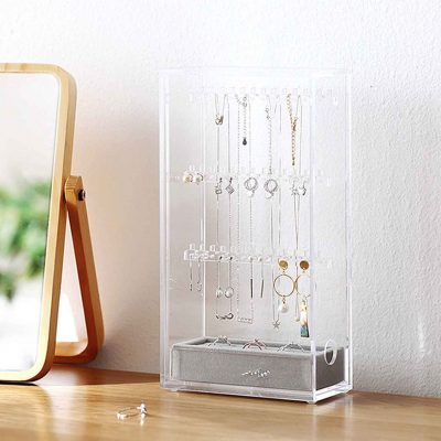 The Elegance Jewellery Standing Organizer Organiser Accessories Necklace Ring Bracelet Acrylic Box Style Degree Sg Singapore