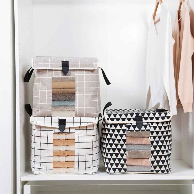 f7f82019bf9 Retro Storage Bag Anti-Dust Quilt Box Bag Cover Closet Wardrobe Organizer  Organiser Home Decor