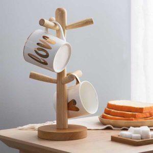 Oishii Wooden Mug Stand Cups Drying Dryer Cutlery Organizer Rack Dinnerware Dining Kitchen Style Degree