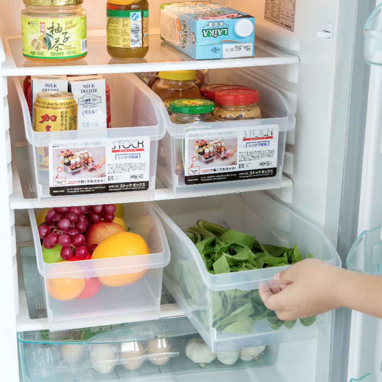 Clear Fridge & Cabinet Organizer Organiser Drawer Storage Roller