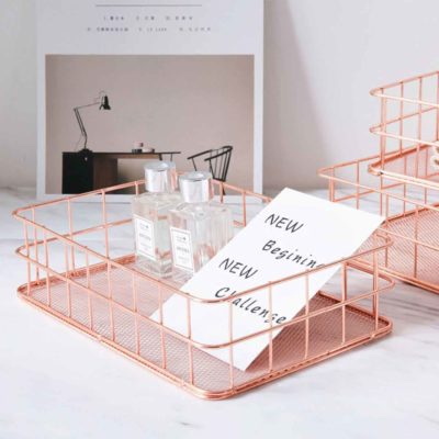 Roseo Mini Basket Organizer, accessories organiser, desk organiser, rose gold basket, cosmetics organiser, organizer, pink, stylish, style degree, singapore, sg