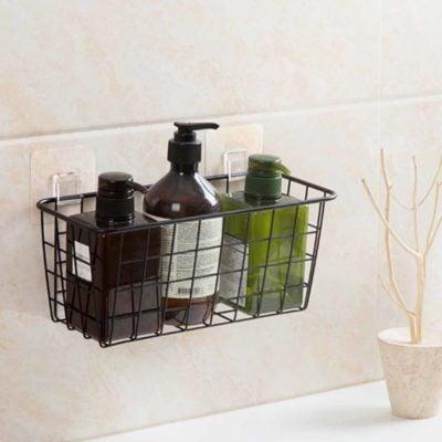 Rustic Basket Wall Holder Hanging Hooks Kitchen Condiment Bathroom Toilet Organizer Organiser Mesh Style Degree Sg Singapore