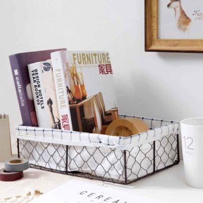 Rustic Mini Basket Desk Cosmetics Makeup Cosmetics Organizer Organiser Storage Box Style Degree Sg Singapore