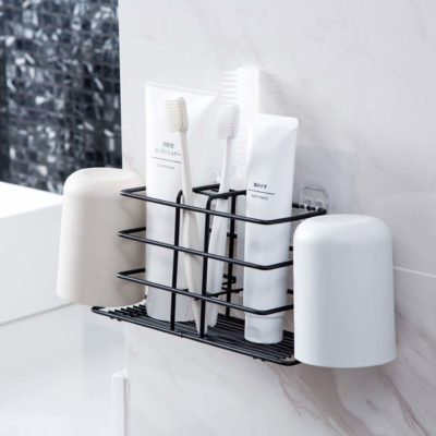 Rustic Toothbrush & Toothpaste Holder Toilet Bathroom Toiletries Wall Organizer Organiser Shaving Style Degree Sg Singapore