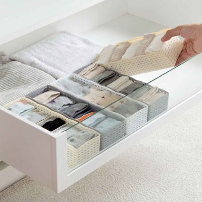 Woven Rectangle Closet & Desk Organizer Organiser Makeup Undergarment Style Degree Sg Singapore