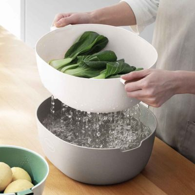 Earthly Colander & Strainer Drainer Kitchen Vegetables Fruits Rice Washing Style Degree Sg Singapore