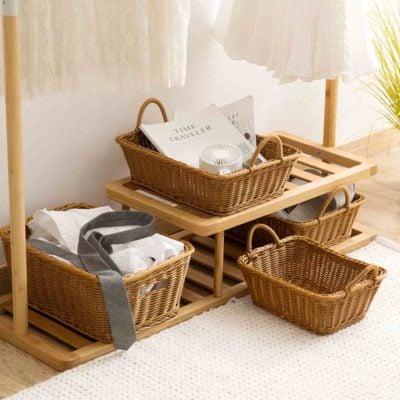 Artisan Ratten Mini Crate Storage Box Undergarment Laundry Clothes Closet Wardrobe Home Decor Wood Style Degree Sg Singapore