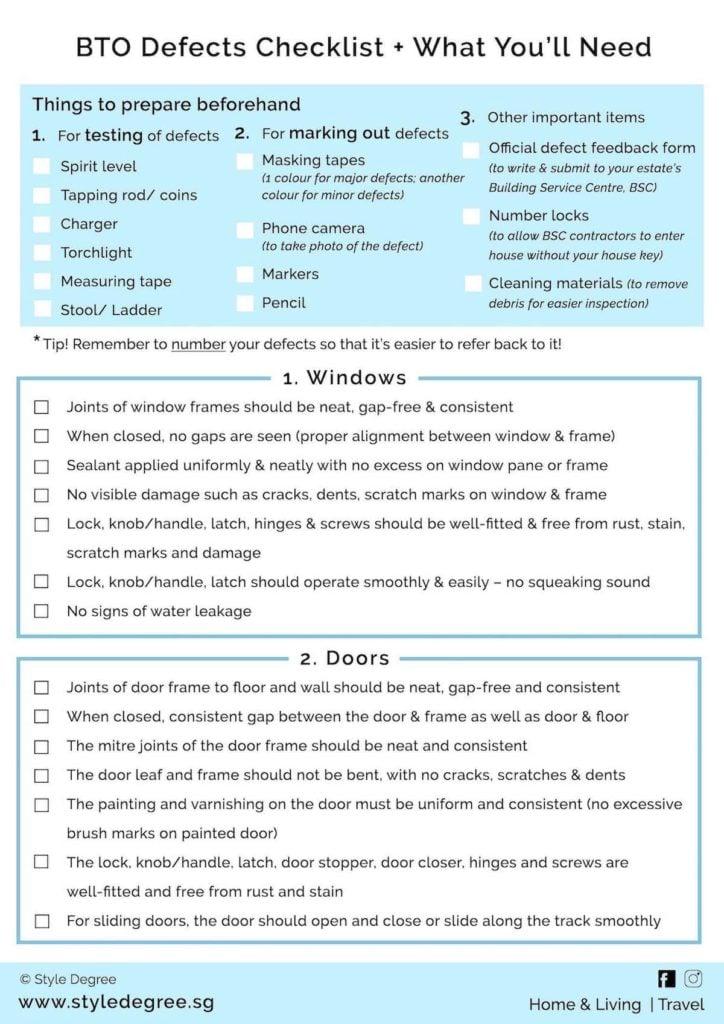 HDB BTO Defects Checklist PDF downloadable comprehensive checklist