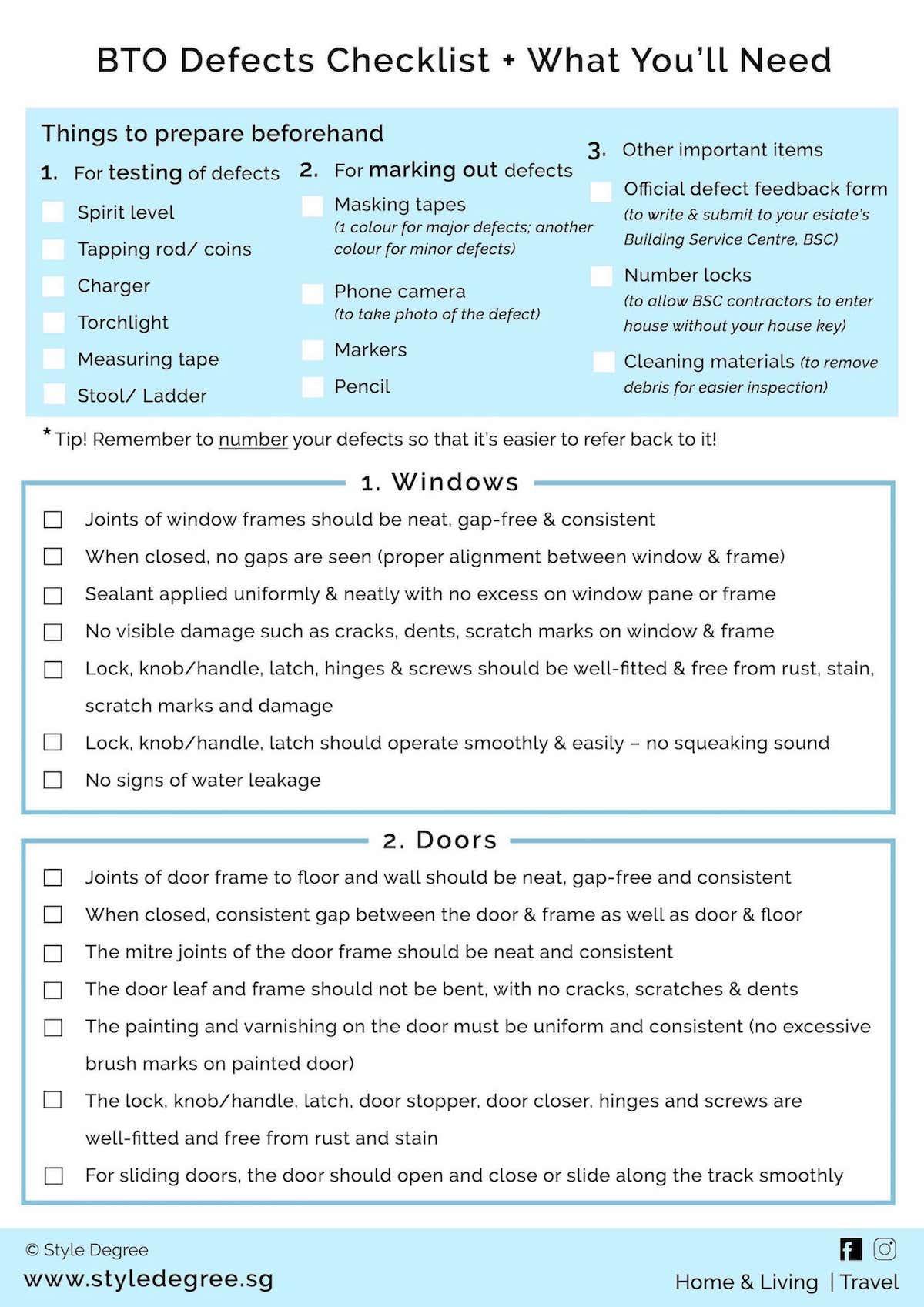 HDB BTO Defects Checklist PDF download comprehensive checklist