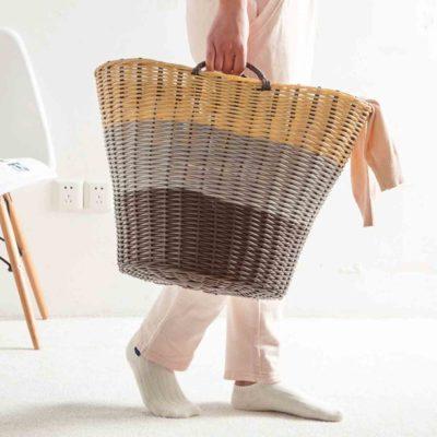 Artisan Rattan Basket (3-Tone Design) Laundry Clothes Storage Box Style Degree Sg Singapore