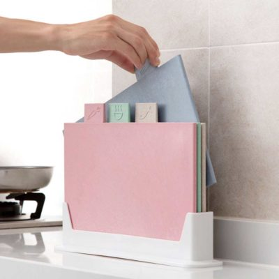 Quadra Multi Chopping Board (With Holder) Cutting Boards Kitchen Knife Knives Holder Rack Style Degree Sg Singapore