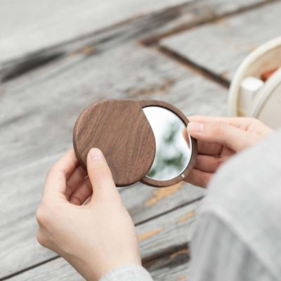 Walnut Purse Mirror Easy Carry Mirrors Travel Beauty Accessories Style Degree Sg Singapore