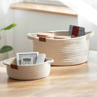 Weaver Basket Organizer Desk Table Organiser Holder Storage Box Living Room Style Degree Sg Singapore