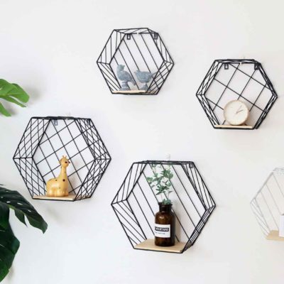 Hexagon Rustic Wall Holder Holders Organizer Organiser Storage Living Room Decoration Style Degree Sg Singapore