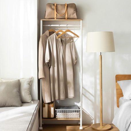 The Scandinavian Movable Open Wardrobe Clothing Garment Rack Wardrobes Closet Organizer Organiser Style Degree Sg Singapore