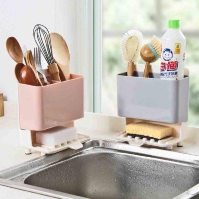 Standing Sponge & Utensils Dryer Cleaning Drainer Holders Kitchen Sink Basin Organizer Organiser Style Degree Sg Singapore