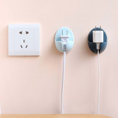 Pastel Power Plug Wall Holder (2pc Set) Socket Plug Wall Adhesive Organizer Organiser Style Degree Sg Singapore