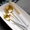 Gold Stainless Steel Cutlery Set Tableware Dinnerware Dining Utensils Kitchen Accessories Style Degree Sg Singapore