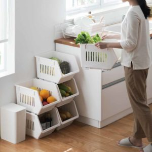 Luxe Stackable Basket Organizer Storage Box Boxes Kitchen Accessories Homeware Style Degree Sg Singapore