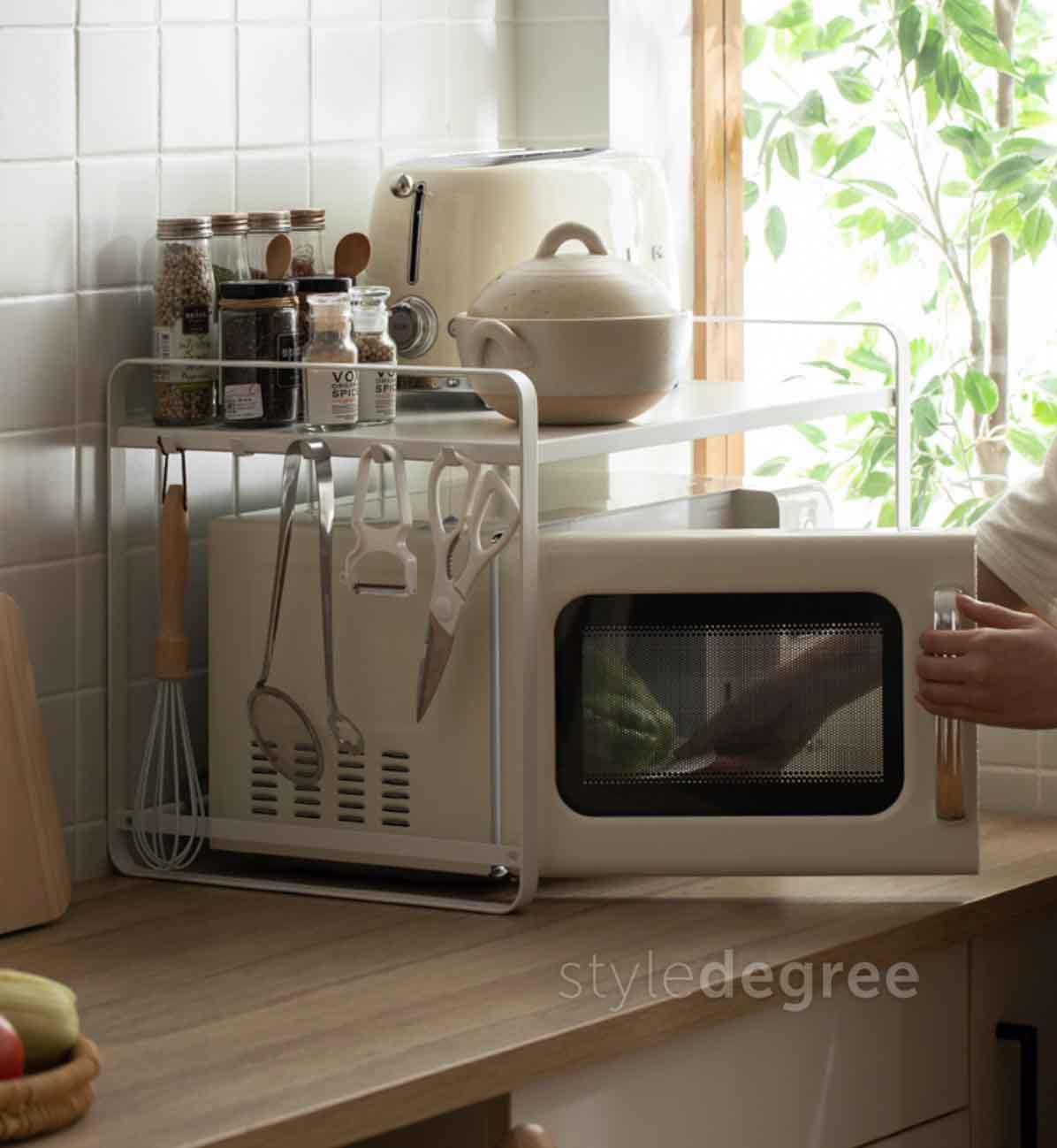 2 Tier Microwave Kitchen Rack Storage Maximise Space