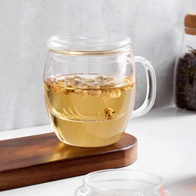 Tea Infuser Glass Mug (With Lid) Cup Dinnerware Fruit Infuser Coffee Clear Mug Style Degree Sg Singapore