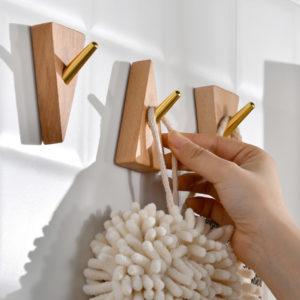 Woody Wall Knob Hooks (2pc Set) Wall Hanging Holder Style Degree Sg Singapore