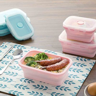Silicone Collapsible Food Container (3pc Set) Lunch Box Picnic Fridge Storage Box Style Degree Sg Singapore