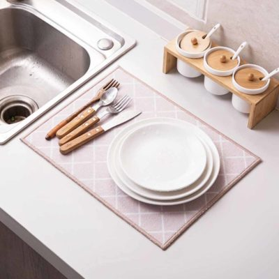 Lively Absorbent Kitchen Drying Mat Coral Fleece Mats Cloth Linen Style Degree Sg Singapore