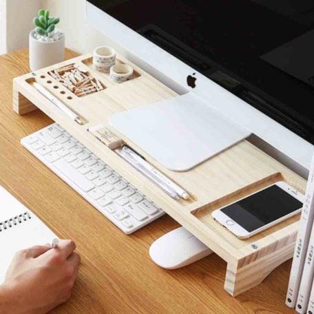 Woody Monitor Riser Stand & Desk Desktop Organiser Organizer Style Degree Sg Singapore