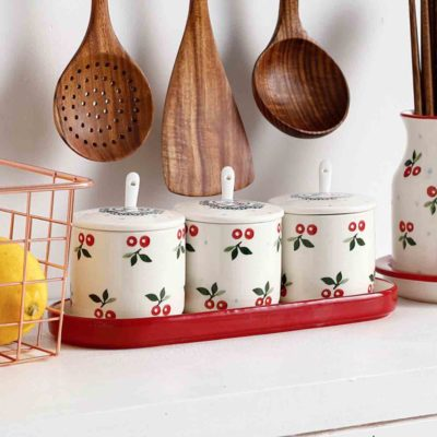 Vintage Cherry Condiment & Spice Jars Seasoning Salt Pepper Sugar Holder Style Degree Sg Singapore