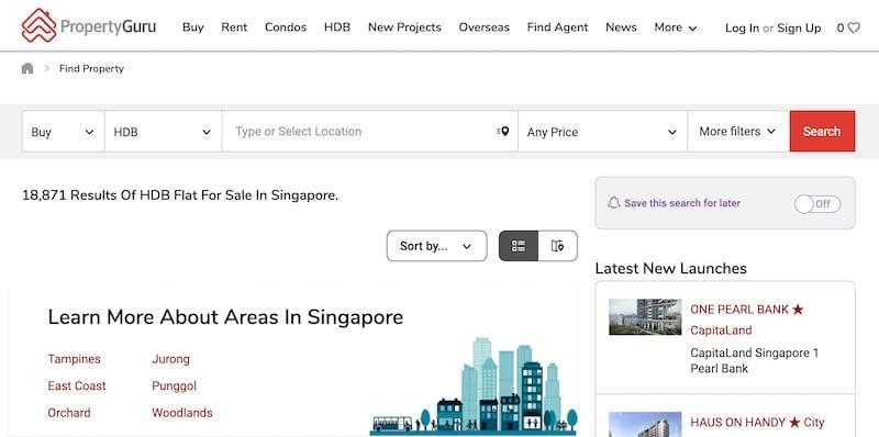Where to buy HDB Resale Flat Property Guru