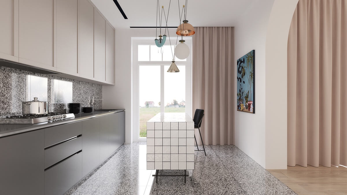 Minimalist Kitchen With Pink Curtains Stylemag Style Degree