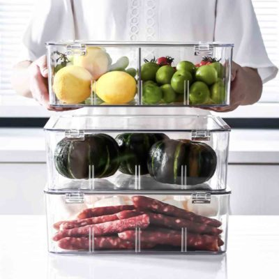 Klear Adjustable Dividers Fridge Storage Container Box Lid Style Degree Sg Singapore