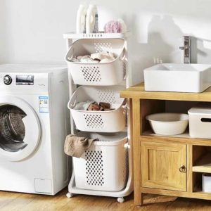 Multi-Tier Laundry Basket (With Wheels) Clothes Storage Trolley Service Yard Organizer Organiser Style Degree Sg Singapore