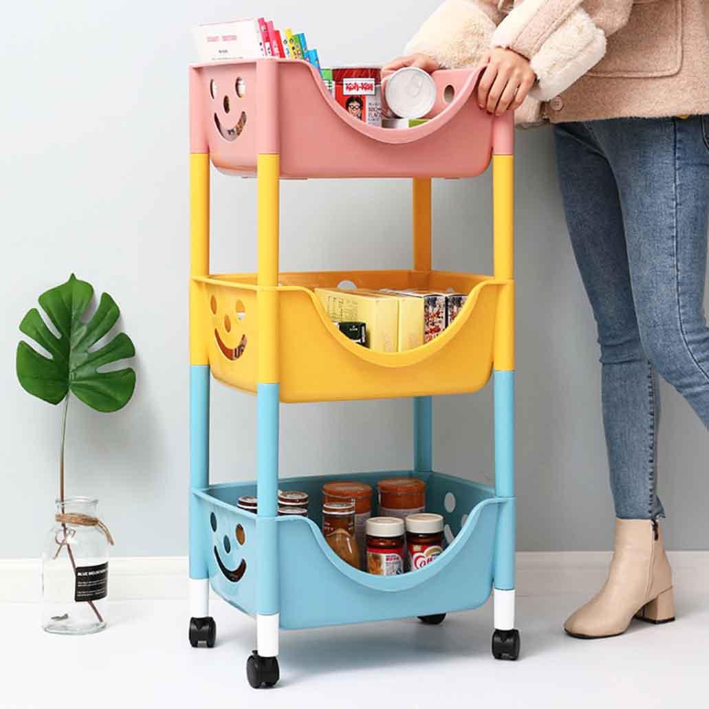 Kids Toy Storage Trolley 3 Tier Design Storage Rack Style Degree