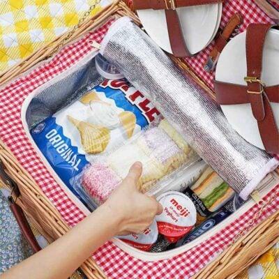 Retro Rattan Picnic Basket Set With Cooler Compartment Bag Picnic Mat Style Degree Sg Singapore