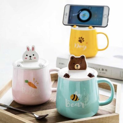 Adorable Animals Mug (With Phone Holder Lid) Coffee Tea Cup Cover Style Degree Sg Singapore