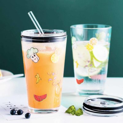 Freshly Anti-Leak Glass Tumbler Mug Cup Straw Coffee Style Degree Sg Singapore