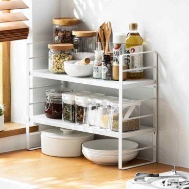 Luxe Adjustable Tiers Standing Kitchen Organizer Rack Bathroom Style Degree Sg Singapore