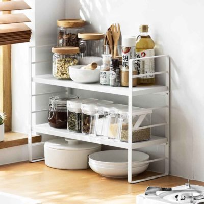 Luxe Adjustable Tiers Standing Kitchen Organizer Rack Bathroom Style Degree Sg Singapore