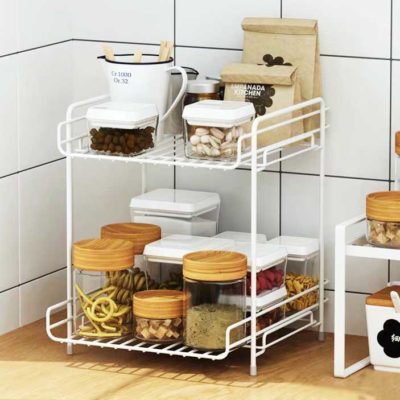 Rustic 2-Tier Desk & Pantry Tray Organizer Kitchen Bathroom Rack Organiser Style Degree Sg Singapore