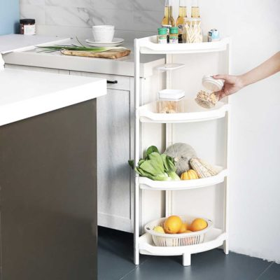 Everyday Corner Standing Rack (With Basket) Bathroom Toilet Kitchen Organizer Style Degree Sg Singapore