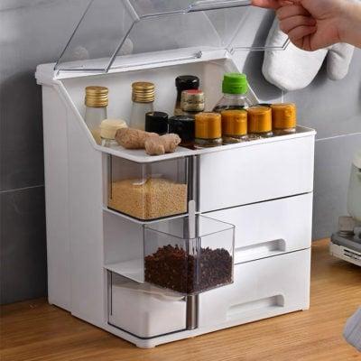 Capsule Dustproof Condiments Kitchen Organizer. Condiment organizer, kitchen condiments rack, singapore, sg, style degree