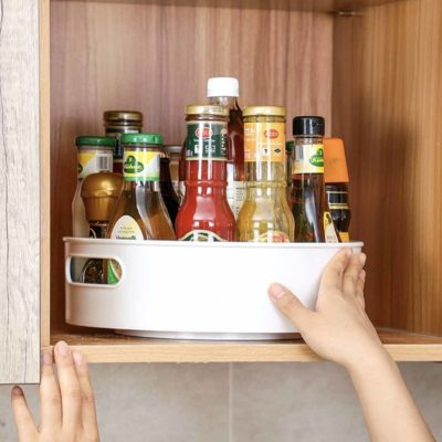 Tall Lazy Susan Turntable (With Handles) Condiment Holder Fridge Organizer Style Degree Sg Singapore