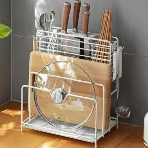 Spacious Knife & Board Multi Holder Pot Pans Lid Drainer Rack Tray Style Degree Sg Singapore