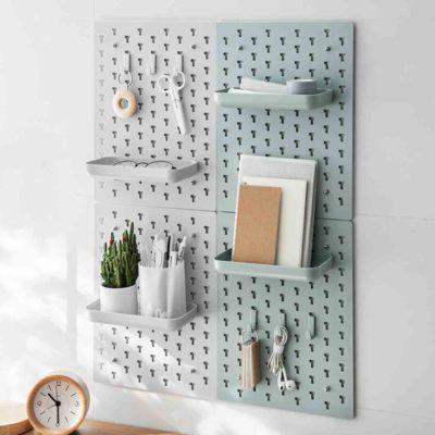 Pastel Pegboard Wall Organizer (With Tray & Hooks) Holder Desk Organiser Bathroom Vanity Table Kitchen Style Degree Sg Singapore
