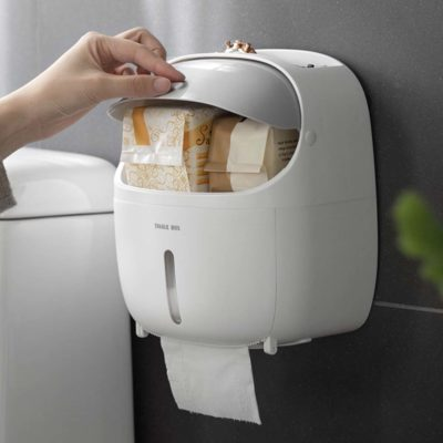 Capsule Toilet Paper Roll Wall Holder (With Storage) Tissue Bathroom Style Degree Sg Singapore
